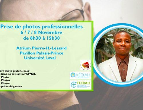 Photos professionnelles avec l'AEDIAH
